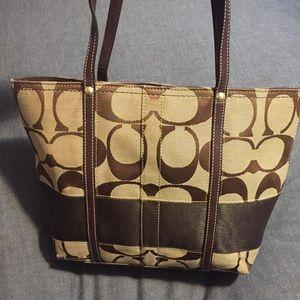 COACH signature stripe purse